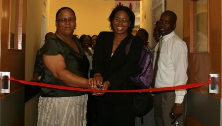 Dr. Pamela Marks (CDC) and Ms Makwedini (Eastern Cape Department of Health) officially open a newly renovated health facility.