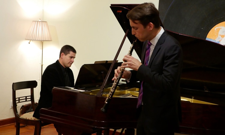 A performance by South African Pieter Grobler (pianist) and American James Austin Smith (oboist).